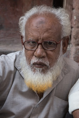 ornage: BIKANER, INDIA - OCTOBER 12, 2015: Portrait of an elderly Indian man with white and ornage beard in front of his home in Bikaner Editorial