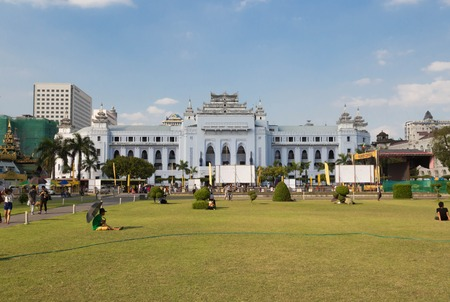 center hall colonial: The withe building of Yangon City Hall, Myanmar