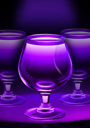 goblet: Three purple glass goblet Stock Photo