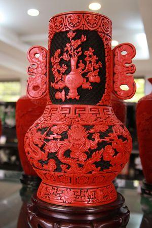 lacquerware: Lacquerware vase Stock Photo