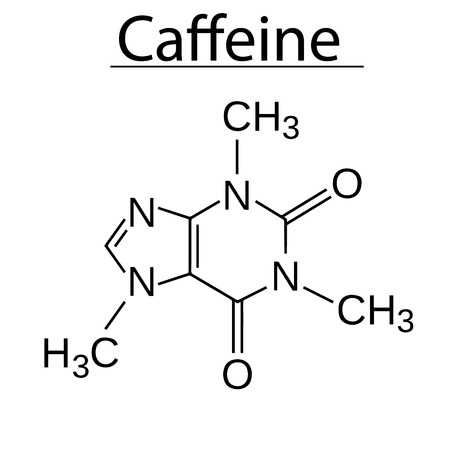 Structural Model Chemical Formula Of Caffeine Molecule 2d And