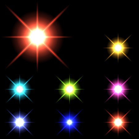 vector glowing lights, stars and sparkles