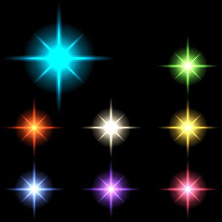 glowing lights: vector glowing lights, stars and sparkles