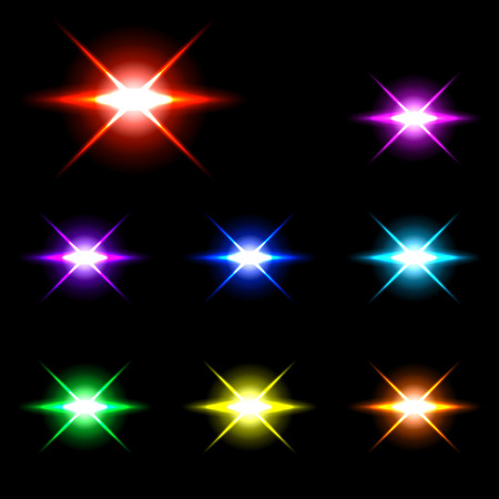 Set of Vector glowing special light effect star