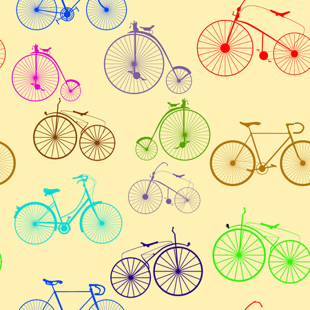 Seamless background pattern. Imitation of newspaper with words Bicycle trip. Text is unreadable.