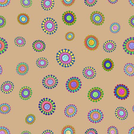 resfriado comun: Diagrama de la Corona de part�culas de virus Patr�n estructura vectorial