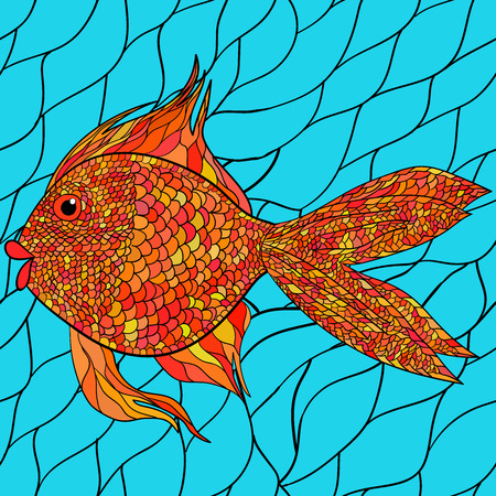 pond life: Light watercolor blue fishes on the black background. Seamlessly tiling fish pattern. Vector. Illustration