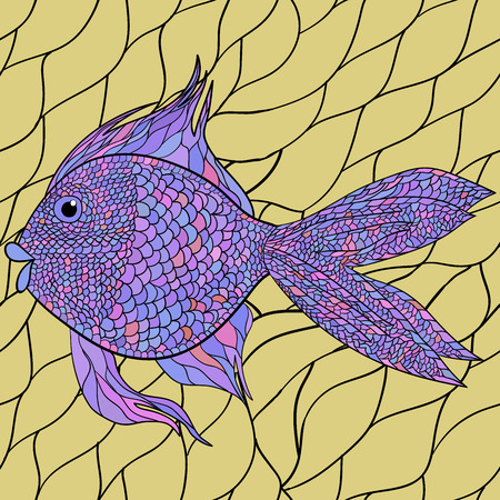 Light watercolor blue fishes on the black background. Seamlessly tiling fish pattern. Vector. Vector