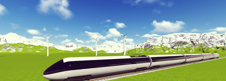 the hovercraft: Modern high speed trains Vector image train