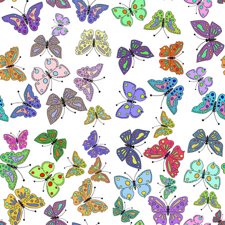 Seamless colorful butterfly pattern. Vector illustration 2