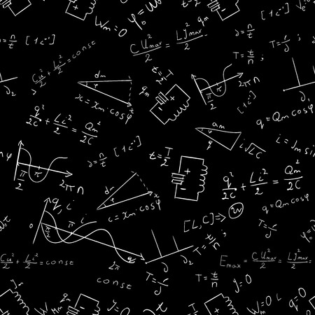 mathematical proof: Maths seamless pattern Vector physics abstract black Illustration