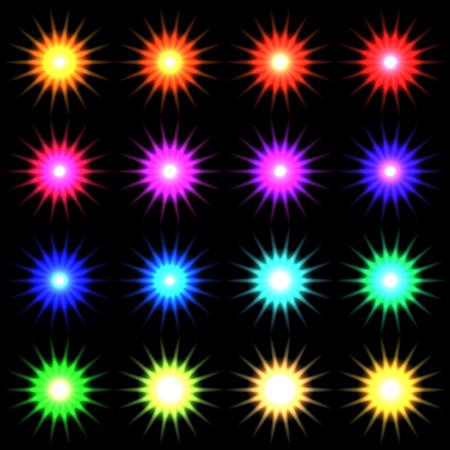 fx: Element blue light with lens effect set.  Illustration
