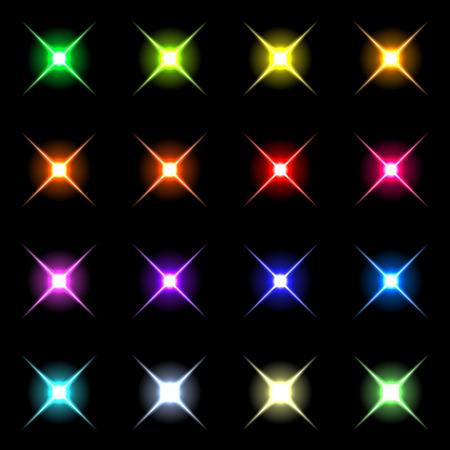 fx: Element blue light with lens effect set.