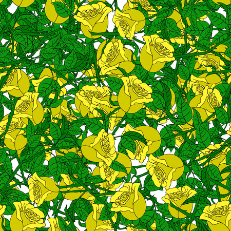 garden flower: Abstract background of flowers. Vector Seamless yellow