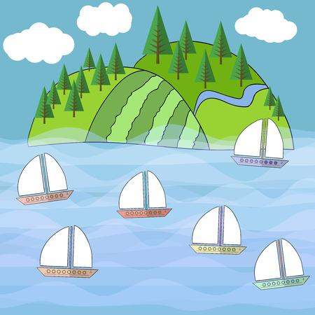 eden: Beautiful exotic island Vector sea, tropical 3 Illustration