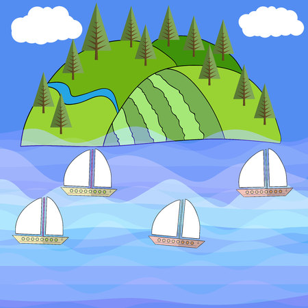 eden: Beautiful exotic island Vector sea, tropical 5 Illustration