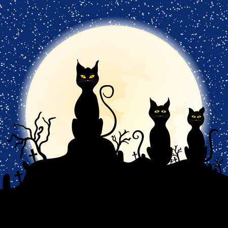 moggy: Black cat on chimney with moon town and starry night in the background Vector
