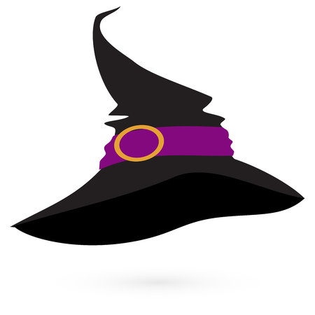 curse: Witchs hat on white background, vector 3