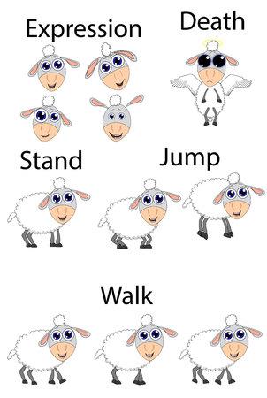 ovejitas: Persona dividida ovejas para su juego Vector Vectores