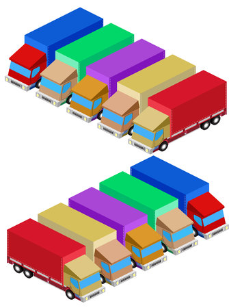 convoy: Vector delivery truck isometric set image car