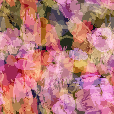 sloppy: Seamless pattern with watercolor imprint of thread coil. Sloppy strokes of a paint. 12 Illustration