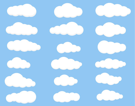 wite: Clouds vector set image wite on blue