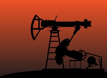 depletion: oil pumps in sunset vector illustration image 1