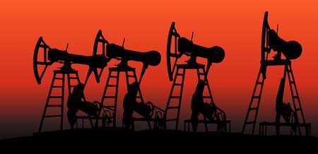 depletion: oil pumps in sunset vector illustration image 3