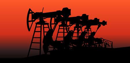 oilfield: oil pumps in sunset vector illustration image 4