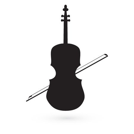 withe: violin icon vector black image on withe background