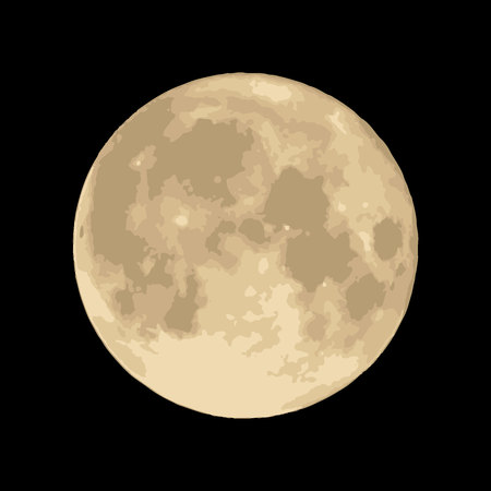 Moon on black background Vector. space image Illustration
