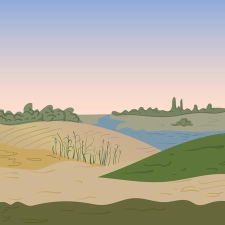 green hills: Natural landscape Vector illustration image background outside