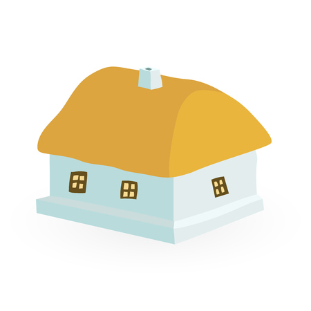 thatch: ancient farmhouse with a thatched roof vector illustration isolated on white background