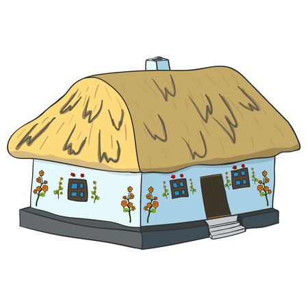 wattle: Illustration of Ukrainian hut image. The symbol of the Ukrainian village. Eco-friendly housing, wattle and daub hut