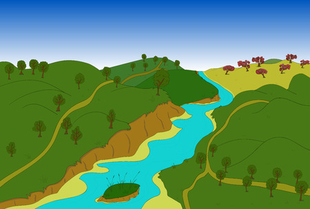 morning walk: Beautiful country landscape. Vector illustration blue river