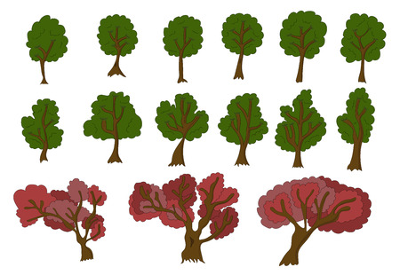 Vecor set of 2d trees for game design. Isolated on white background