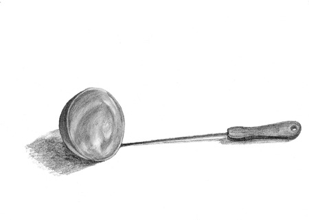 Drawing of  a scoop on white  background pencil