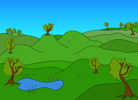 green fields: Green Landscape with trees and green fields and lake Illustration