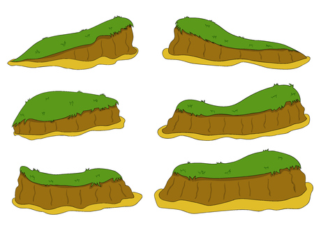 Cartoon nature landscape, vector unending background with ground, hills, river and sky layers. Game elemrnts 1