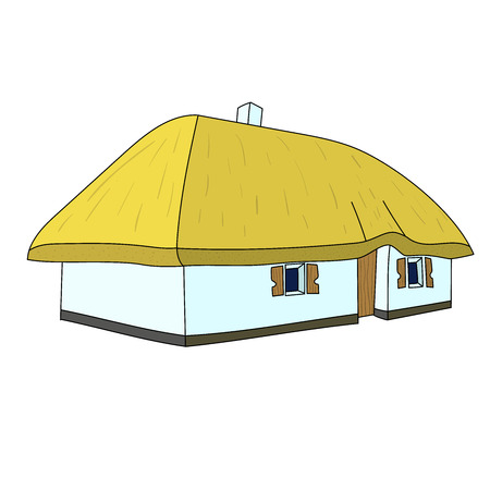 Vector.  An illustration of a thatched country cottage or farm house