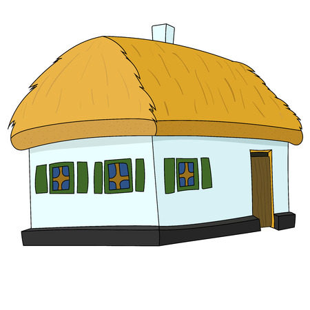 Vector House with thatched roof on white