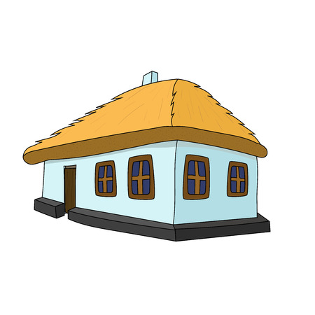 thatched roof: Vector House with thatched roof on white background
