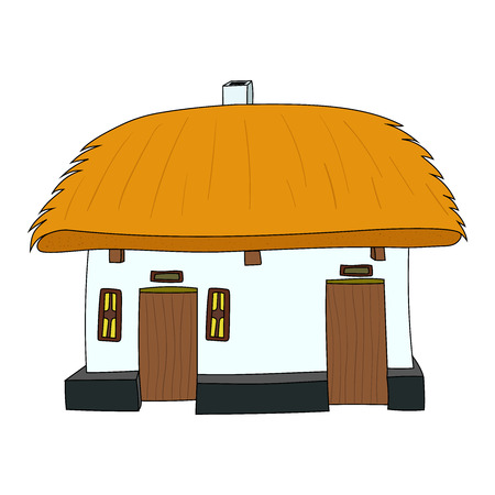 thatched: Vector House with thatched roof on white 1 Illustration