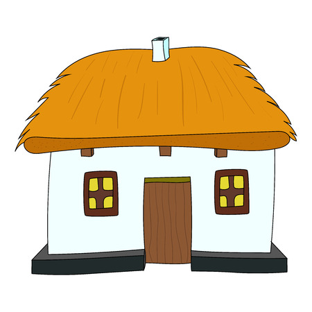 thatched roof: Vector House with thatched roof on white 2