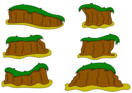 platforms: Vector illustrations  platforms for game on white background. Hummock Illustration