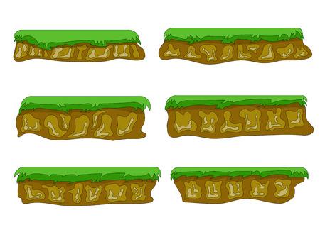 leaves on water: Vector set illustrations  platforms for game on white background Illustration