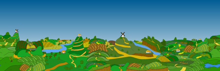 which: Beautiful country landscape. Vector illustration which village