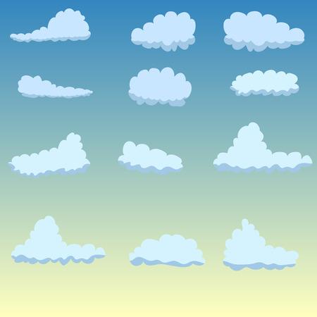 backgroud: Vector Design Elements. Clouds on blue backgroud