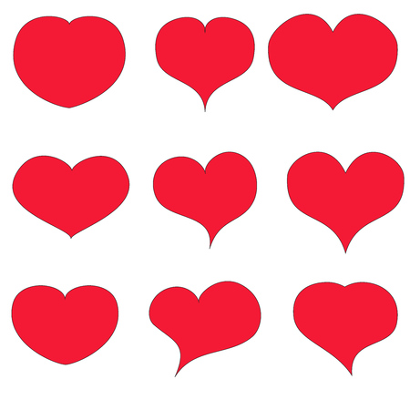 Hearts vector set on white bachground Red