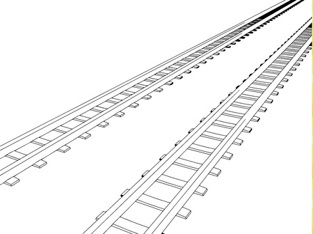 sleepers: White sleepers and rails on a white background Illustration